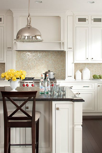 Gorgeous backsplash tile {and island stools}
