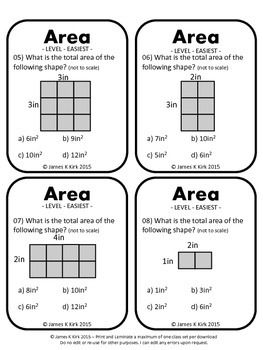 Area of Rectangles Activity Task Cards (imperial): provides 60 challenging questions for students to practice and revise finding the area of rectangles and squares - 1 Area question per card - 4 per A4 sheet - Suitable to print and laminate in black and white (We also have a color / colour version to download) (We also have two metric versions to download)