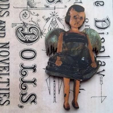 Lenore - Wooden Doll Pin Brooch