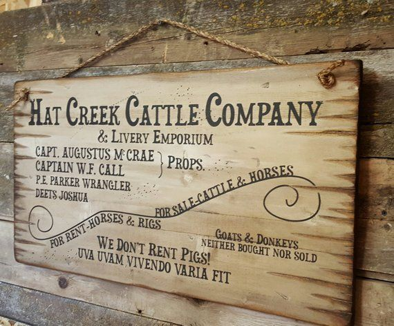 Hat Creek Cattle Company Livery Emporium Large Lonesome Etsy Hat Creek Cattle Company Lonesome Dove Sign Lonesome Dove