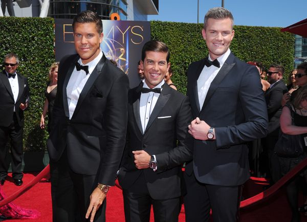 Fredrik Eklund, Luis D. Ortiz and Ryan Serhant of Million Dollar Listing arrive for the 2014 Primetime Creative Arts Emmys.