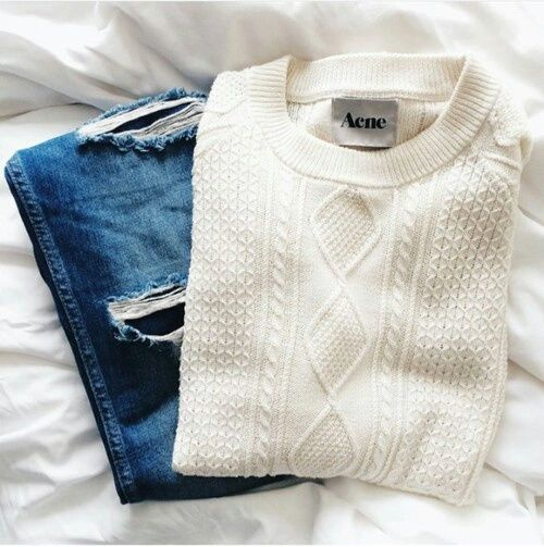 cable knit + ripped denim