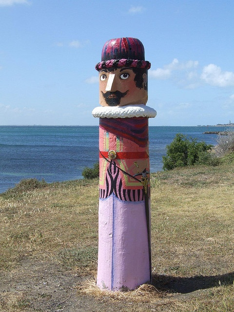 "Geelong, Victoria, Australia - ""Portuguese Explorer"" Bollard No 3 - The Portuguese explorers were said to have landed before Captain Cook."