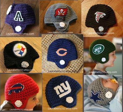 Crochet Baby Football Helmet.