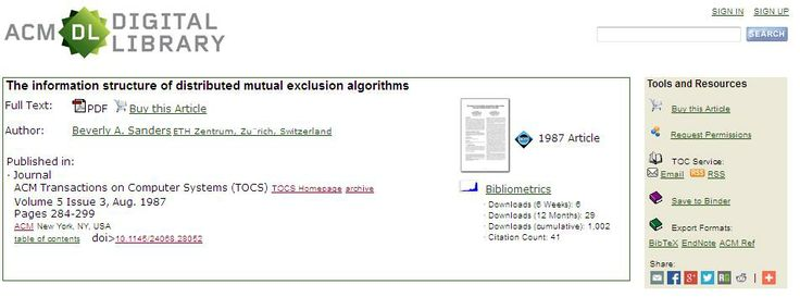 The Information Structure of Distributed Mutual Exclusion Algorithms / B.A. Sanders - ACCES PAYANT