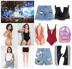 EDC essentials: 4 bodysuits or crop tops, 4 denim shorts, 2 shoes, 1 mini backpack Electric Daisy Carnival outfits