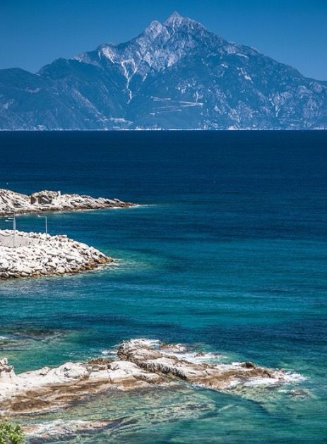 Mount Athos. an amazing view of mount athos from sithonia penninsula,  chalkidiki - macedonia - Greece