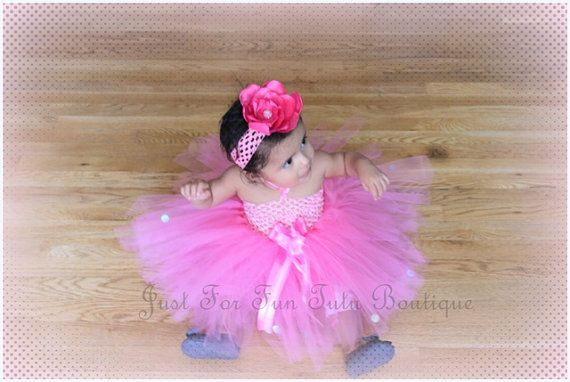 Thanks for visiting Just for fun Tutu Boutique!    This Beautiful Pink tutu dress, is hand made designed along with a matching flower headband.