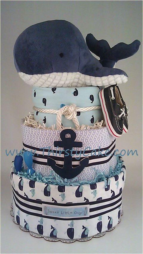 Nautial theme whale diaper cake (Diaper Cake)