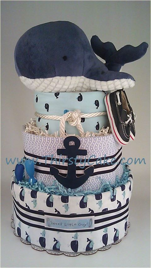 Nautial theme whale diaper cake