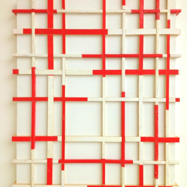 """""""Baulatten auf Leinwand"""" - Arbeit von Beat Zoderer, Zürich 1955. Gesehen in der Ausstellung """"Rasterfahndung"""" im Kunsthaus Stuttgart. Sehr sehenswert!"""