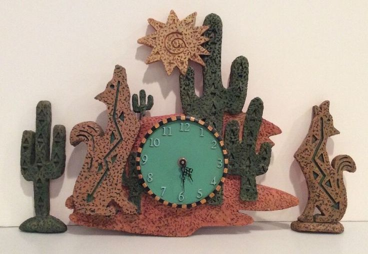 Southwestern Wall Clock 3 Piece Set, Coyote, Cactus, Sun #Unbranded #Southwestern