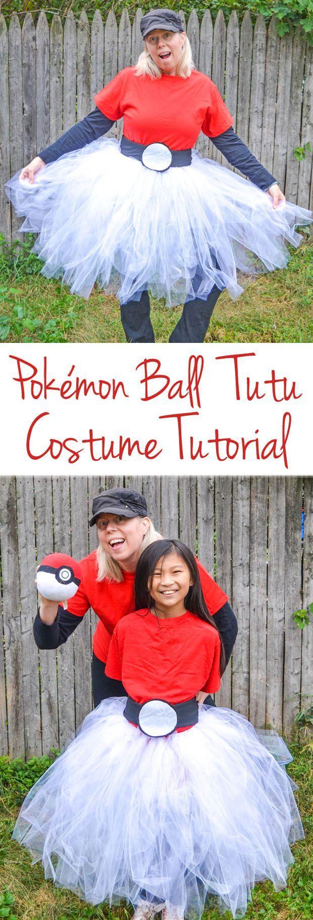 Pokemon Ball Tutu Costume - Create this Pokémon Ball Tutu Costume for Halloween or when you play Pokémon GO. #Pokemon #costume