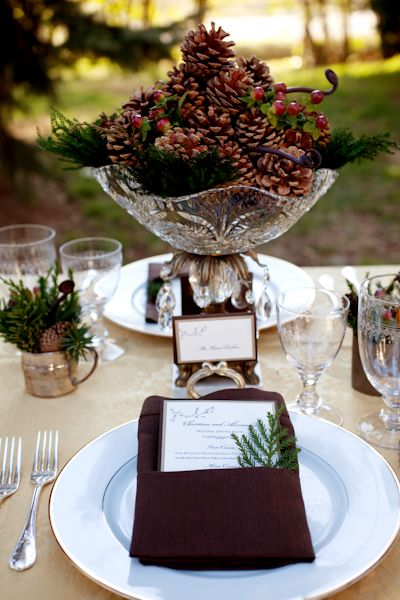 Pine cone centerpiece tablescapes and table settings for Pinecone centerpieces