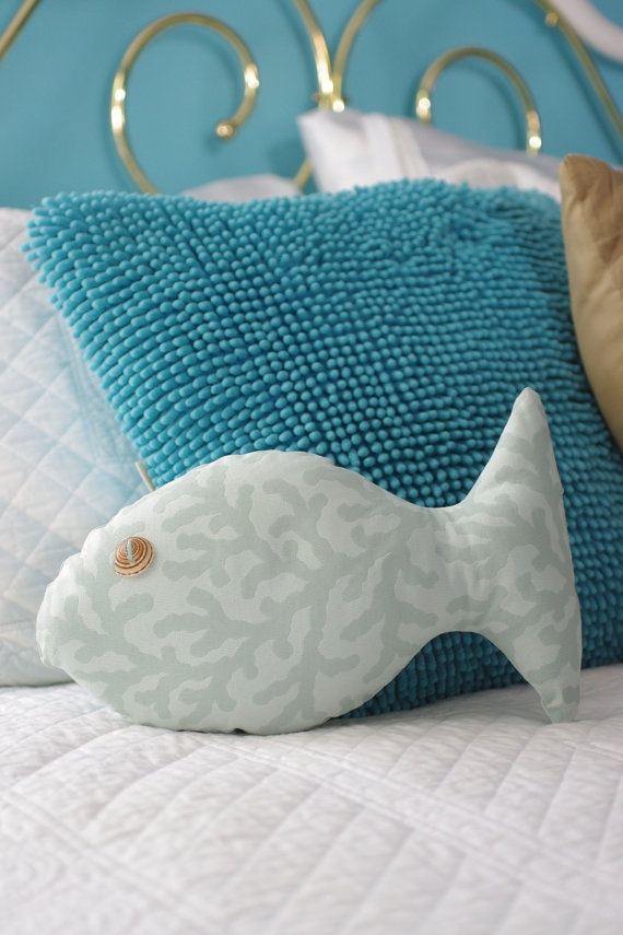 beach decor turquoise fish shaped pillow with sundial