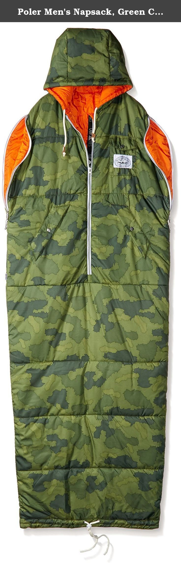 Poler Men's Napsack, Green Camo, Large. A wearable sleeping bag - perhaps the coolest invention ever. Perfect for summer trips, couch surfing, jumping into after outdoor fun (snowboarding, skiing, surfing, and tailgating) or any other activity that brings your core temp down. Hike it up to your waist, cinch it and wear it like a coat around the campsite, then crawl back into your tent (or couch) without ever having to leave the warmth of your bag. Lounge- unzip the armholes, read a book…