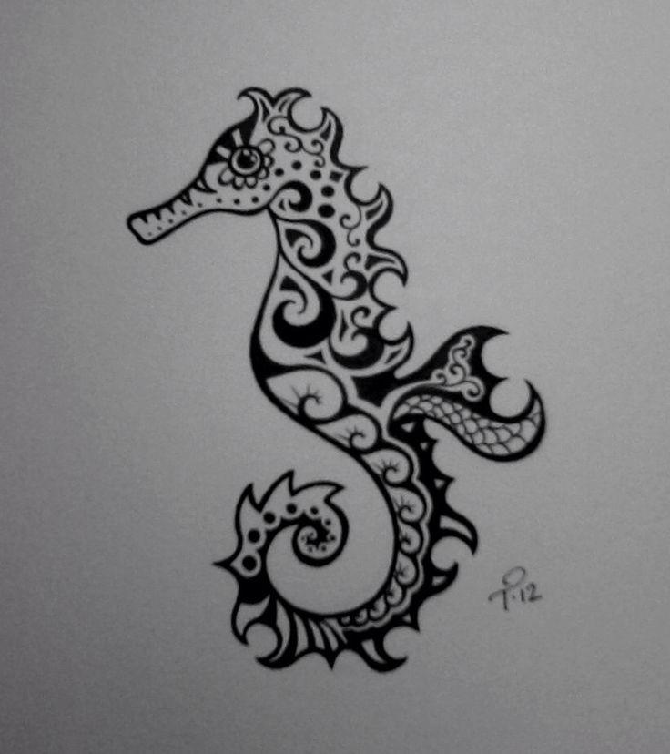 Sea horse drawing