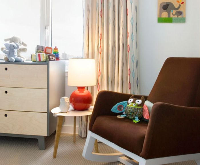 Central Park North Nursery With Our Joya Rocker In Brown White Base Interior Designed