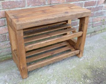 rustic shoe rack with seat wooden shoe storage pine shoe shelf holds 6