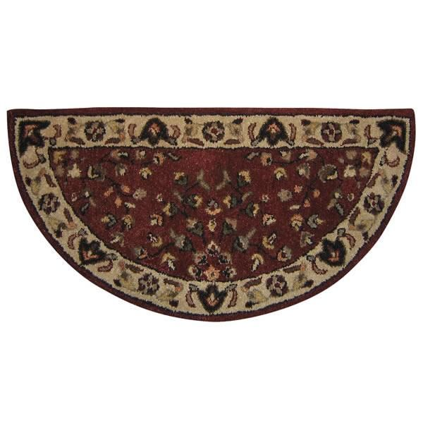 Fireplace Accessories - Woodfield 100% Wool Hearth Rug - Oriental, Brick Red #61144