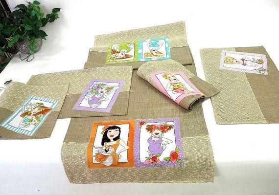 Placemat set of 5 pieces Loralie ladies by ClassyInteriorsDeco