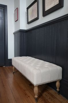 Dark painted wainscoting for dining room