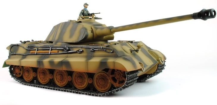 """De 1/16e schaal Tiger II en bekend als """"King Tiger"""" met posche turret is een top van het assortiment RC tank van Taigen. Het is een volledig functioneel model met veel upgrades ten opzichte van standaard 1/16e tanks. Het meest opvallend is de fantastische hand geschilderd body dat maakt elke tank bijna origineel maakt."""