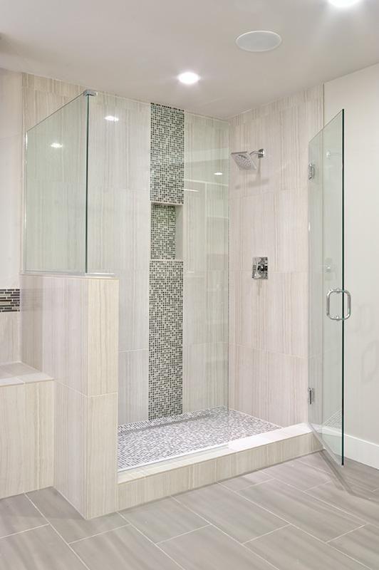 Vertical Tile Mosaic Tile Through Niche Remodel Bedroom