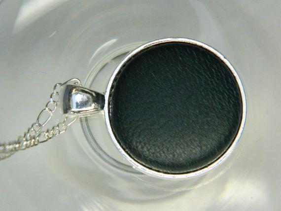 Dark green leather button pendant  Girlfriend by LittleRubyAtom