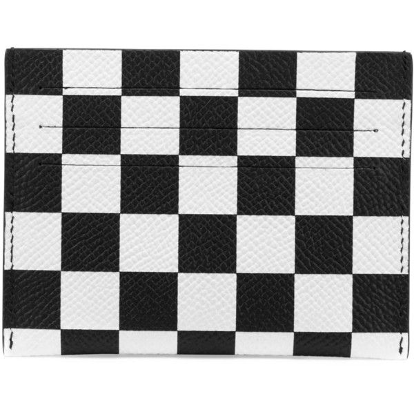 Givenchy Checkered Leather Card Case ($152) ❤ liked on Polyvore featuring men's fashion, men's bags, men's wallets, givenchy mens wallet, mens card holder wallet, mens card case wallet, mens leather card case wallet and mens leather credit card holder wallet