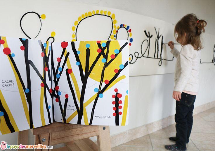 """bricolage livre herve tullet """"On joue?""""  Fresque peinture et laine"""