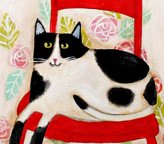 ORIGINAL cat folk art painting SPOTTED Cat on a RED by tascha