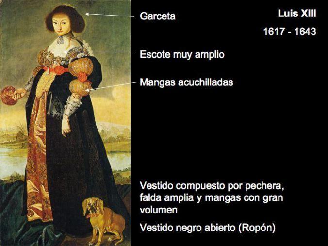 indumentaria femenina del periodo barroco.