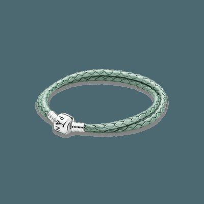 bracciale pandora pelle verde