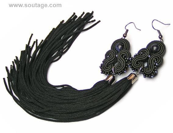 Black Dragon - very long, light, thin soutache earrings with blue sand stone. Earring with their silky tassel can be wear for all occasions: wedding, evening party, date, everyday(workday) Using materials: glass beads, soutache, viscose, blue sand stones. Length of earring: 18 cm. Width