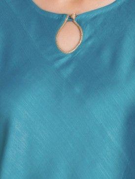 Teal Button Embellished Bias Cut Chanderi Kurta