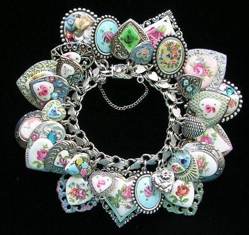 Vintage Sterling Silver Heart Charm Bracelet Guilloche Enamel Flowers Rose Cameo | eBay. Awesome designer.