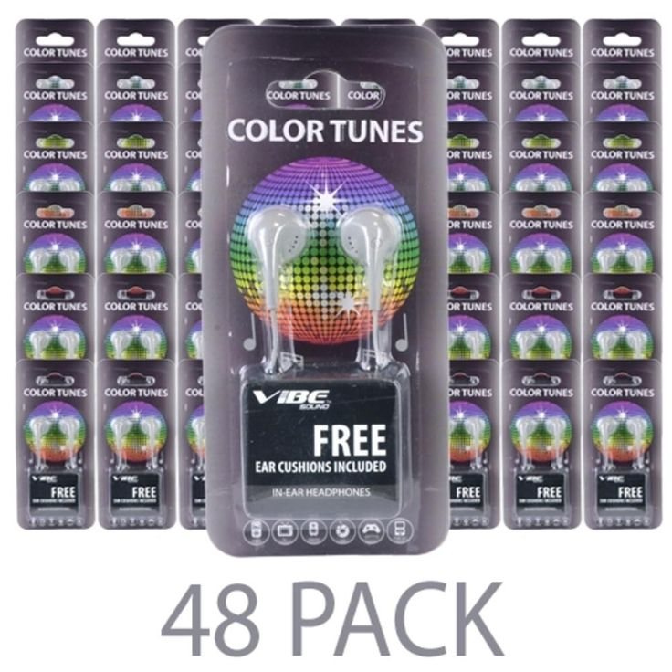 (48-Pack) Vibe Color Tunes VS-120-GRY In-Ear Stereo Headphones (Gray) - Retail Hanging Package