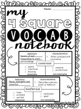 Student 4-Square Vocabulary Notebook
