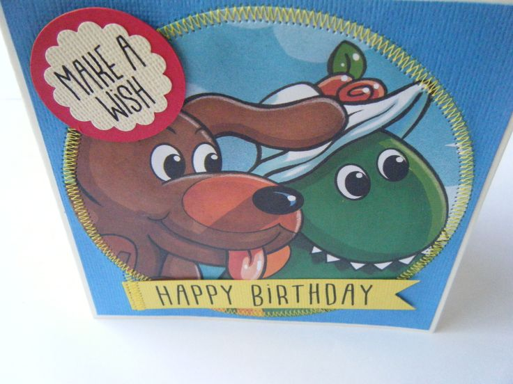 the wiggles, Wags and Dorothy Birthday gift card, handmade.