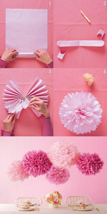 Flores hechas con servilletas de papel cumple for Decoracion con cenefas de papel