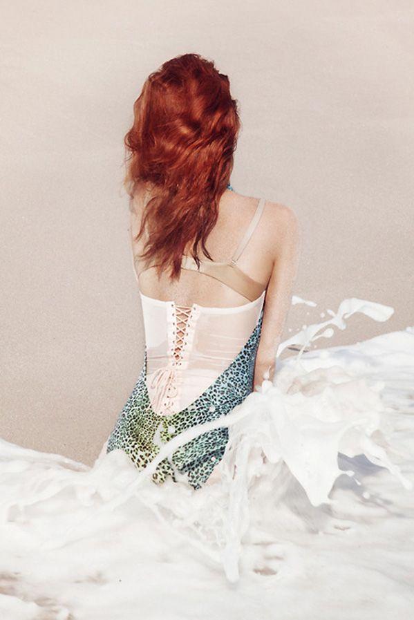 Rianne Ten Haken Allures You on the Beach-Global Intimate Wear: Ten Haken, Red, Petrovsky Ramone, Posts, Haken Vogue Netherlands, Fashion Editorials, Rianne Ten, Fashion Photography, Mermaid
