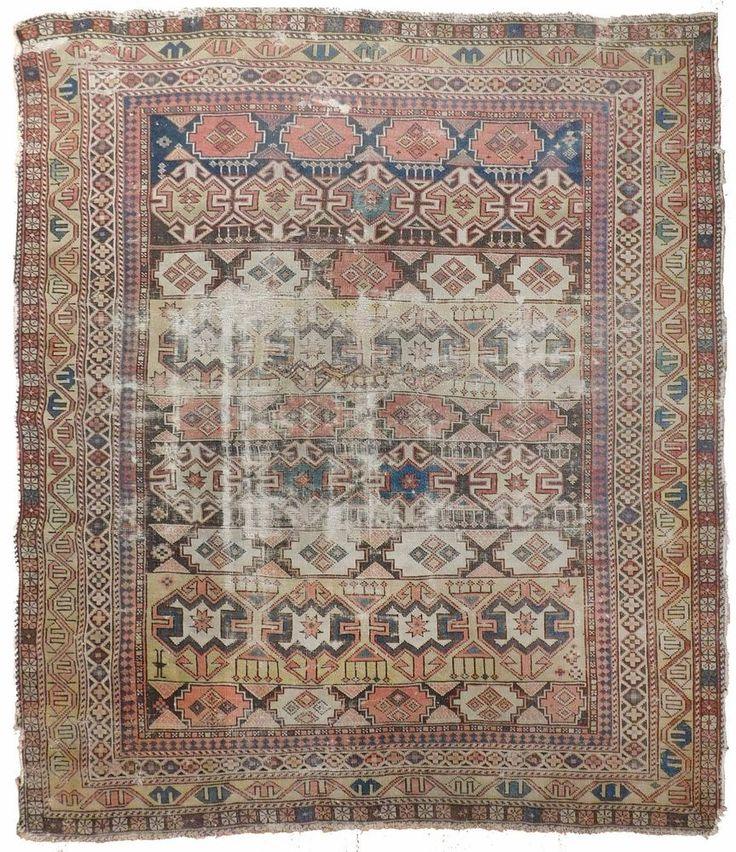 """NLR 554- Distressed Antique Caucasian Rug. 4'x 4'8"""" #Distressedantique #Geometric"""