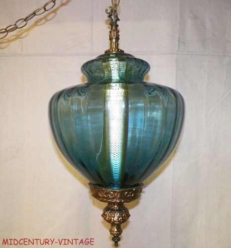 Mid Century Vintage Lights For Sale: Huge Vintage Blue Glass Swag Hanging Light Lamp Hollywood