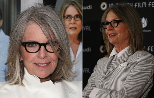 The Best Hairstyles for Women Over 50: Diane Keaton's Cool Glasses and Long Bob