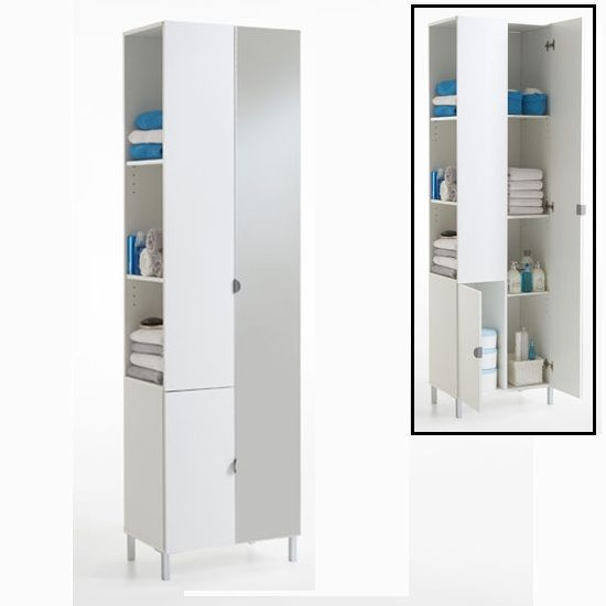 Tarragona 2 Tall Bathroom Cabinet In White With Mirrored Door 18995 Bathroomcabinet Furnitureinfashion