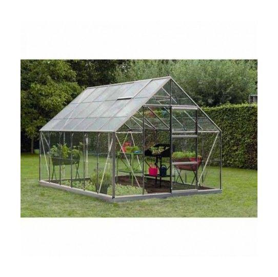 Serre de jardin en polycarbonate Intro Develop – Olivier – 9,90m², Couleur Gris, Base Sans base, Filet ombrage non, Descente d'eau 1 – longueur : 3m84