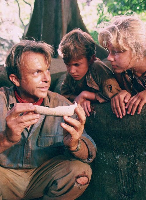 "Sam Neill (""Dr. Alan Grant""); Ariana Richards (""Lex Murphy""); and Jospeh Mazzello (Tim Murphy"") in Jurassic Park"