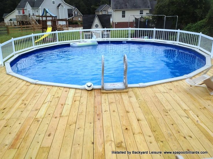 Round above ground with decking hot tubs and pools installed by backyard leisure pinterest for Round swimming pools above ground