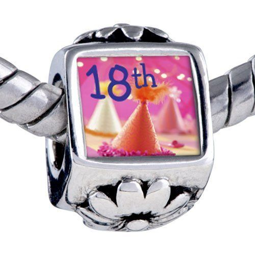 Pugster Silver Plated Photo Bead 18th Photo Flower European Charm Bead Fits Pandora Bracelet Pugster. $12.49. Unthreaded European story bracelet design. Fit Pandora, Biagi, and Chamilia Charm Bead Bracelets. It's the photo on the flower charm. Hole size is approximately 4.8 to 5mm. Bracelet sold separately